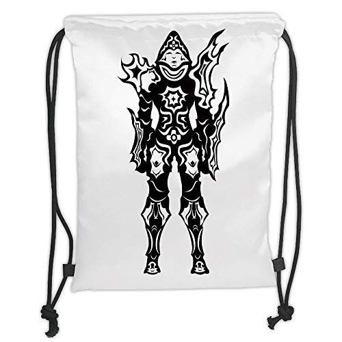 ZKHTO Drawstring Sack Backpacks Bags,Video Game,Illustration of Warrior in Black and White Fiction Battle Fantastic Creatures Decor,Multi Soft Satin,5 Liter Capacity,Adjustable String Closure