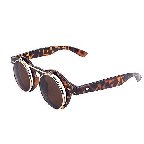 Steampunk Brillen Brillen Runde Sonnenbrille Retro Vintage Aufklappen Cyber Gotik Schildpatt Farbe