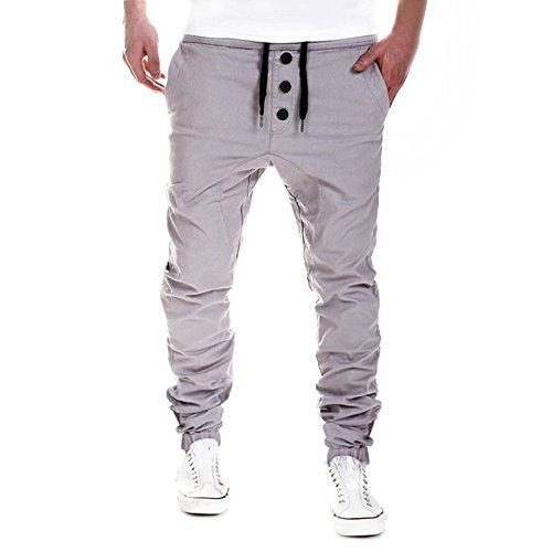 JYJM Herren Hosen Jogginghose Pluderhosen Latzhosen Jogger Dance Sportwear Baggy(Grau Size:M)