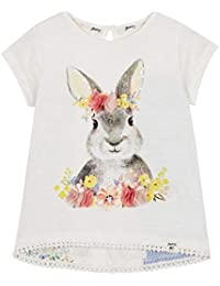 5bb28174f126 Mantaray Kids Girls' White Floral Applique Bunny Print T-Shirt