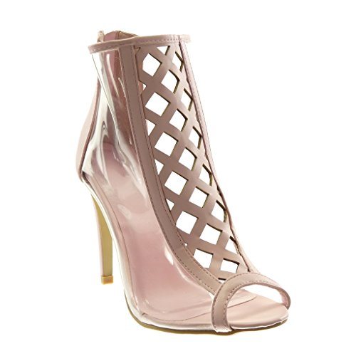 Angkorly - Damen Schuhe Stiefeletten - Stiletto - Peep-Toe - schick - transparent - gekreuzte Riemen Stiletto high Heel 10.5 cm - Rosa 238-7 T 41