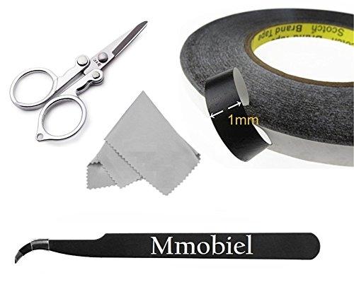 MMOBIEL® Cinta adhesiva doble cara ultra fuerte (A=1mm L=50m). Para reparar vidrio digitalizador Pantalla LCD de teléfonos, tablets, etc Incl 1 pinzas, tijeras, 1 paño de limpieza y bolsa resellable