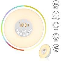 Wuudi Wake-Up Light, Despertador luz amanecer Función de Dormitar, 6 sonidos naturales 7 luz de noche multicolor 10 de brillo Alarma de radio FM, Pilas(no incluido) o cable USB