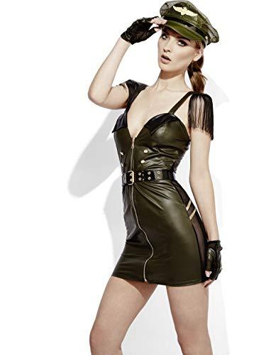 Luxuspiraten - Damen Frauen Armee Militär Stabschefin Generalin Kostüm mit Kleid, Mütze, Gürtel und Handschellen, perfekt für Karneval, Fasching und Fastnacht, M, Grün