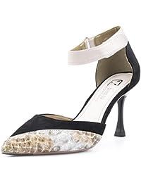 Frauen Schwarz Spitzschuh Stilettos High Heel Pumps Rivet Court Schuhe Elegante Hochzeit High HeelsBlack-5cm-EU...