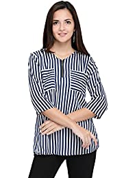 vrati fashion Women's multi colour Regular Fit Top(NEW DESIGN-BLUE LINING TOP)
