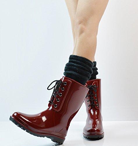 LvRao Frauen Gummistiefel Regen Schnee Wasserdichte Hohe Knöchel Lange Wellington Garten Schuhe Weinrot mit Socken