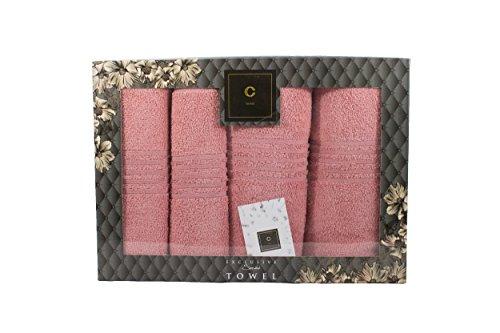 CAVAR Home - 4er-Set - Premium HANDTÜCHER inkl.Geschenkset - 2 x Duschtuch + 2 x Handtuch - 100{8fd17315c4b3af0c46bf93135ccb63c3cf7059b5285a9d7c205f51533c36c32f} aus Baumwolle - Frottee -Saunatuch (Rose)