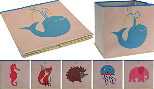 PhiLuMo Aufbewahrungskorb für Spielsachen, Kiste für Spielwaren, Bausteine, etc, Korb 32x32x30cm, Motiv: Qualle