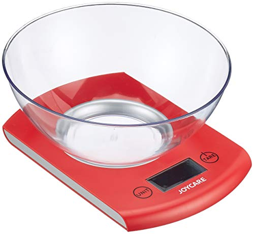 Joycare JC-449 Sunrise Bilancia Cucina Digitale con Ciotola, Rosso