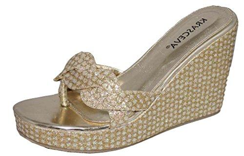 Desire Clothing Shimmer Paillettes et strass Argenté/doré Taille moyenne à Cale de talon Sandales de soirée Or - doré