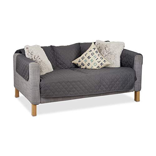 Relaxdays Sofaschoner 3 Sitzer, Wasserabweisender Überwurf, schützt vor Tierhaaren und Flecken, waschbar, gesteppt, Grau