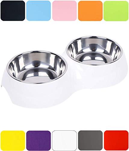 DDOXX Doppel-Fressnapf, rutschfest | viele Farben & Größen | für kleine & große Hunde | Futter-Napf Katze doppelt | Hunde-Napf Hund | Katzen-Napf Edelstahl-Napf | Melamin-Napf | Weiß, 2 x 350 ml