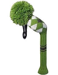 Verde blanco gris estilo argyle Golf Club Pom Pom funda para Fairway Wood.Green Grey White Argyle Style Golf Club Pom Pom Headcover for Fairway Wood