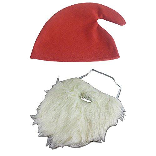 thematys® Barba di Babbo Natale Bianca da Nano per attaccare + Cappello cap - Costume per Adulti e Bambini - Perfetto per Carnevale e Natale - Universal Donne Uomini