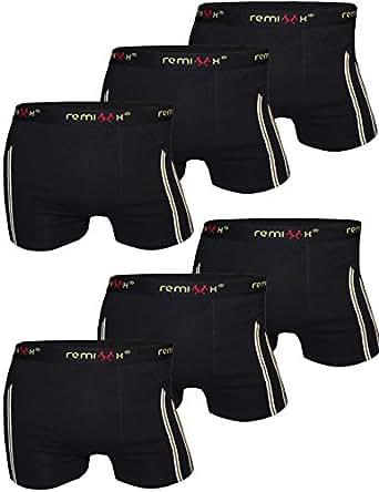 6er Pack Herren Retroshorts Boxershorts Remixx 070 schwarz dunkelblau mehrfarbig, Farbe:schwarz;Größe:M