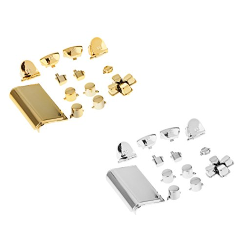 Segolike 2Set Replacement Full ABXY Buttons Custom Mod Kit Set for PS4 Gold+Silver
