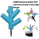Gaddrt 3,5 mm Kopfhörer-Splitter, 4-Wege-Multi-Kabel-Adapter, Schwarz
