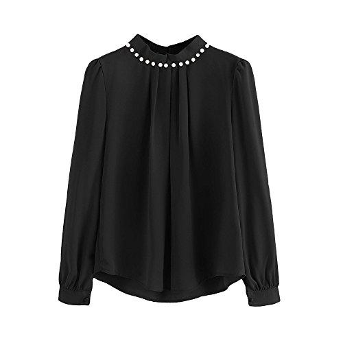 Oksea Einfarbiges Hemd dameChiffon Hemd mit Brustfalten Farben Frauen Chiffon Bluse Lange Aufflackernhülse Stehkragen Weibliche Tops