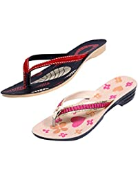 Indistar Women Comfortable Flip Flop House Slipper And Sandal-Cream/Pink/Black+Red- Pack Of 2 Pairs