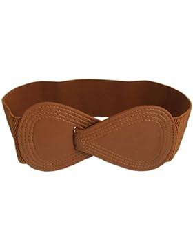 Marrón elástico 8-Shaped de enclavamiento hebilla cintura cinturón para mujer