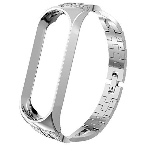 Altsommer Uhrenarmbänder für Xiaomi Mi Band 4, Diamant Edelstahl Armband Smart Watch Band Strap Armband Uhrband Watch Band Watch Strap Uhr Unisex mit Edelstahl Schliesse Faltschließe