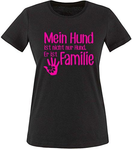ezyshirt® Mein Hund ist nicht nur Hund! Er ist Familie Damen Rundhals T-Shirt Schwarz/Neonpink