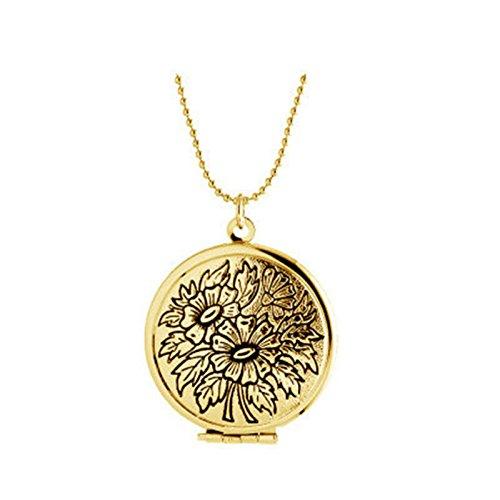 Bishiling Damen Edelstahl Kette zum Öffnen Rund Graviert Blumen Anhänger Halskette für Bildereinlage (Gold Halskette Medallion Kostüm)