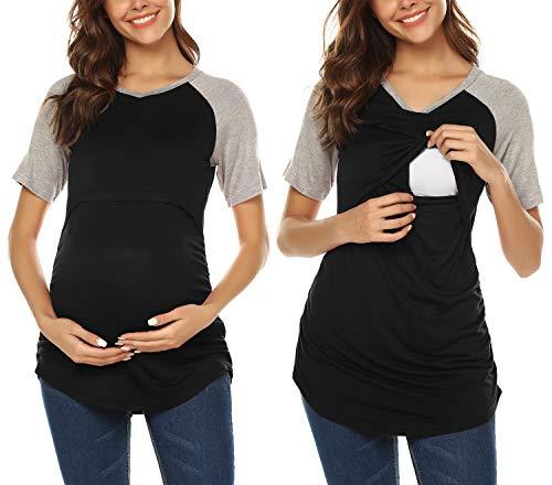 Mama Baseball Jersey (URRU Damen Umstands-T-Shirt, Baseball, V-Ausschnitt, Raglanärmel, Größe L, Schwarz)