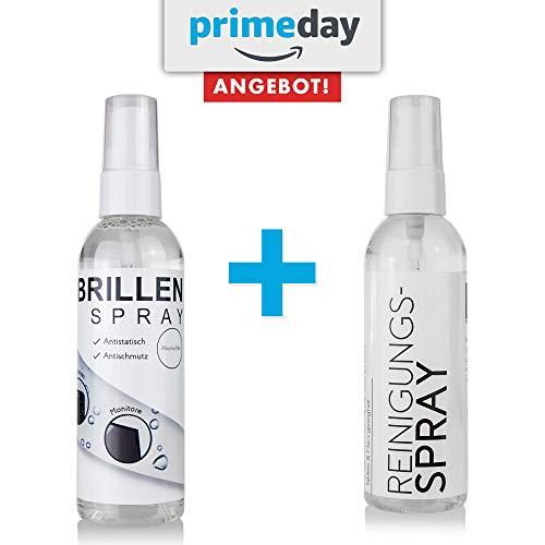 AKTION: Brillenreiniger / Brillenspray für Brillen, Lesehilfen und Sonnenbrillen - Brillenreinigung wirkt Antistatisch mit Antischmutz-Effekt - Brillenreinigungsspray (100ml)