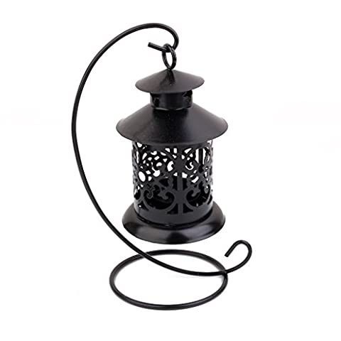 European Style Hanging Candle Holder Tea Light Holder Stand (Black)