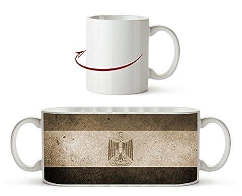 Ägyptische Flagge Effekt: Sepia als Motivetasse 300ml, aus Keramik weiß, wunderbar als Geschenkidee oder ihre neue Lieblingstasse.