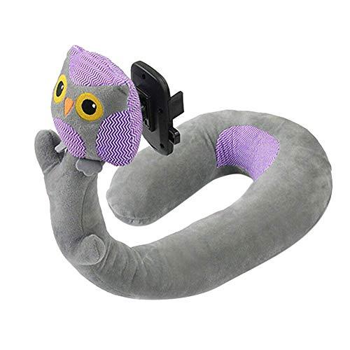 chengJellyLibrary Schaumstoff U Förmige Reise Kissen, Nackenstütze Kissen Kopfstütze mit Telefon Halter - Owl (Owl Telefon)