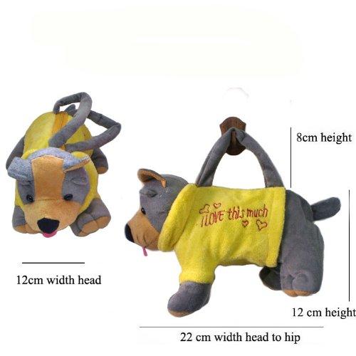 JTC Kinder Plüsch Handtasche Süße Tierstil Tasche Weiche Schultertasche Gelb Braun Hund