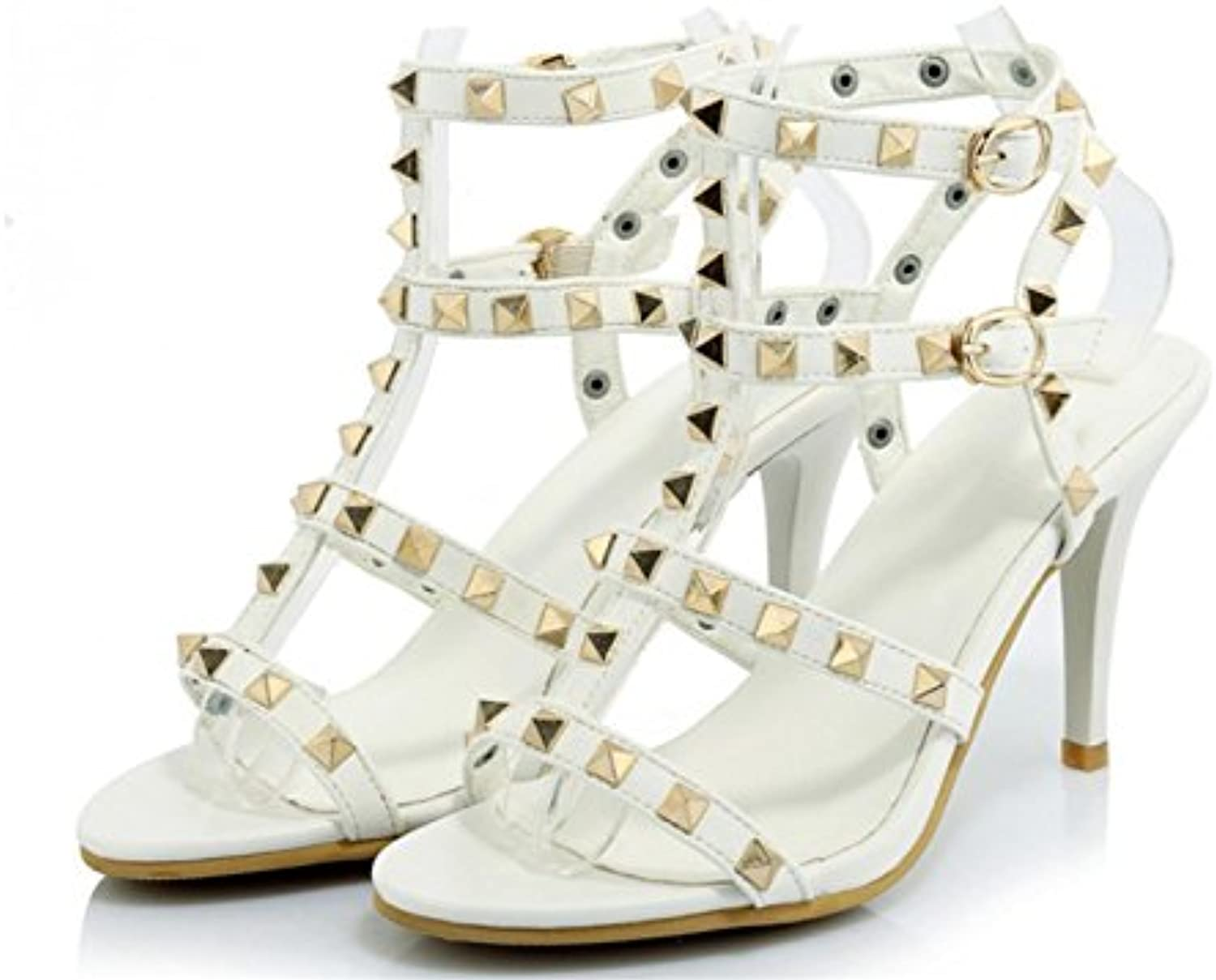 7f46f9c71 Kitzen Women Sandals High Heel Sandals Rivet Rivet Rivet Fine With Buckle  Shoes Fashion Party Banquet