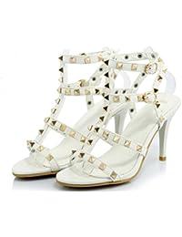 Kitzen Sandalias de Mujer TacóN Alto Sandalias Remache Bien con Hebilla Zapatos Moda Fiesta Banquete, White, 40