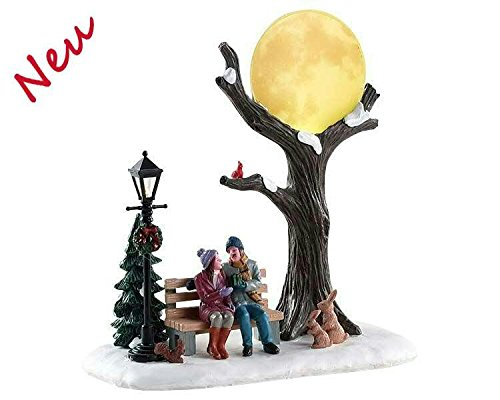 Lemax 84359 - Christmas Moon - Weihnachten Unterm Vollmond - Neu 2018 - Vail Village Table Pieces - Beleuchtetes LED Polyresin Tischstück - Dekoration/Weihnachtsdeko - Weihnachtswelt/Weihnachtsdorf -