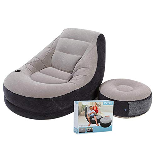 AYUE® Aufblasbare Deluxe Lounge Lounger 1 Person Stuhl Mit Ottoman Fuß Hocker Rest - Sitz Relaxer Single Couch -