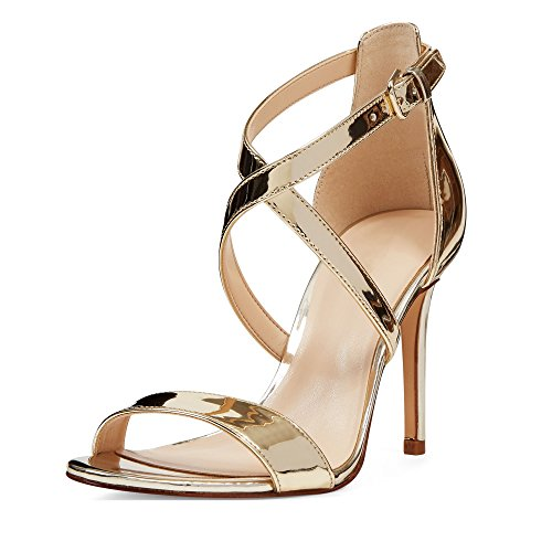 EDEFS Damen Knöchelriemchen Sandalen,Offene Zehen 10 CM Absatz Sommer Schuhe Gold