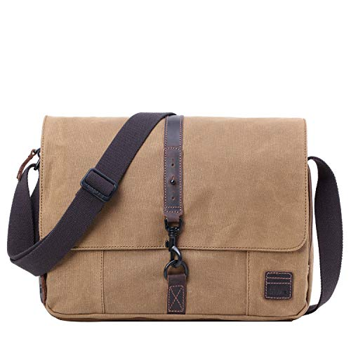 f53fe313 TRP0482 Troop London Heritage Canvas Leather Laptop Messenger Bag, Tablet  Friendly, Canvas Bag for