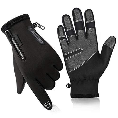 Qhui Touchscreen Handschuhe, Winter Herren und Damen Handschuhe Wasserdicht Smartphone Winterhandschuhe, Verdicken und Winddicht, für Ski Fahrrad Motorrad Reiten Laufen Sport Radfahren(XXL