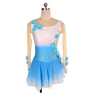 Heart&M Eiskunstlauf-Kleid-Frauen-Mädchen-Eislauf-Tanzen-Leistung Wettbewerbs-Kostüm-Blumen-Spandex-handgemachte Rhinestone-Skatenabnutzung High-end