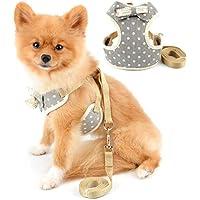 SELMAI Chihuahua Arnés para Perros Pequeños Medianos Lunares Arneses y Correas para Gatos Sin Tirar Sin Estrangulador Ajustable Chaleco Acolchado de Malla Suave para Gatito Mascota Caminata Gris M