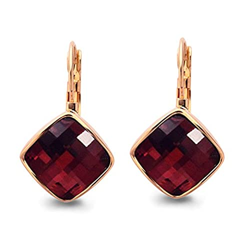 Yoursfs Weinsrote Kristall Ohrringe fuer Frau Hebel Party/ Roten Quadrat-Ohrringe von 18K Rosegold vergoldet als Valentinstag