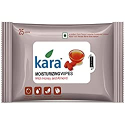 Kara Moisturizing Face Wipes - Viscose Fibre - Honey & Almonds - 25Pcs
