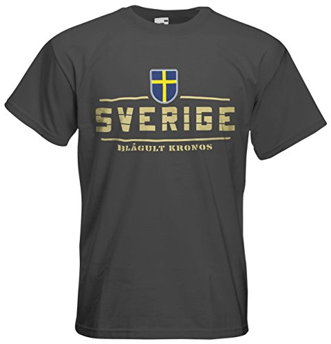 Schweden Sverige EM 2016 Fanshirt T-Shirt Trikot (Graphit, XL)
