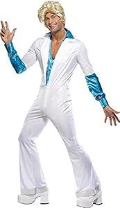 """Smiffys-33346L Hombre Disco, Todo es un Solo Disfraz, Enterizo con Camisa unida, Estilo de los 70, Color Blanco, L - Tamaño 42""""-44"""" (33346L"""