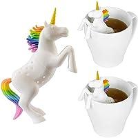 Konrisa Infusor de té Unicornio Silicona Filtros de té para bebés Coladores de té Herramienta para hojas de té sueltas Regalo de Navidad Decoración hogareña, juego de 2