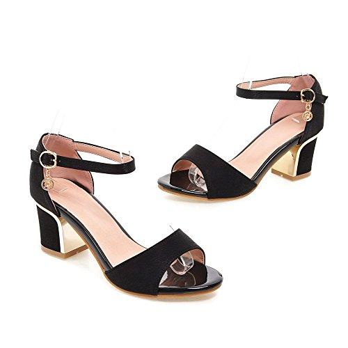 Puro Medio Heeled Donna Tacco VogueZone009 Fibbia Cowboy Nero Sandals waEqg