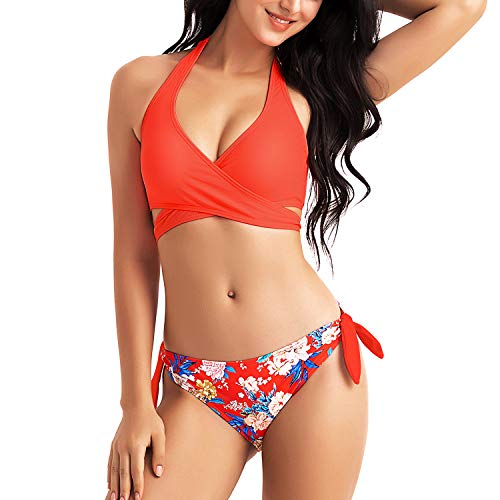 WIN.MAX Bikini Damen Set Push Up Bikini Badeanzug Damen Sexy Crossover Neckholder Triangel Abnehmbar Strandkleidung Bikinioberteil Blumen Bikinihose Seitlich Gebunden(rot, EU38)